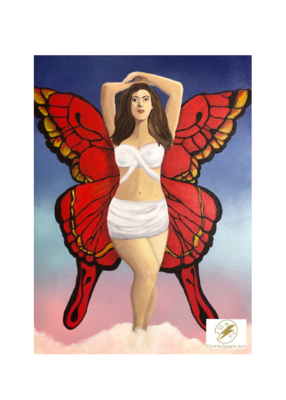 "Butterfly Woman, 10""x12"" Art Print"