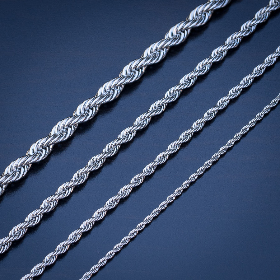 White Gold Rope Chain 18-26 inches