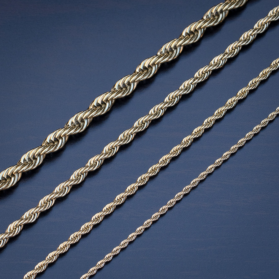 14K Gold Rope Chain 18-26 inches