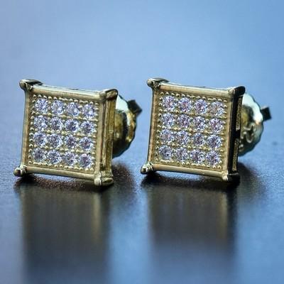 Mens 14k Gold Small Square Stud Earrings