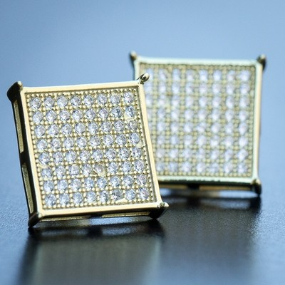 14K Gold Large Square Stud Earrings