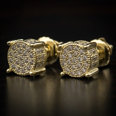14K Yellow Gold 4 Prong Diamond Bullet Earrings