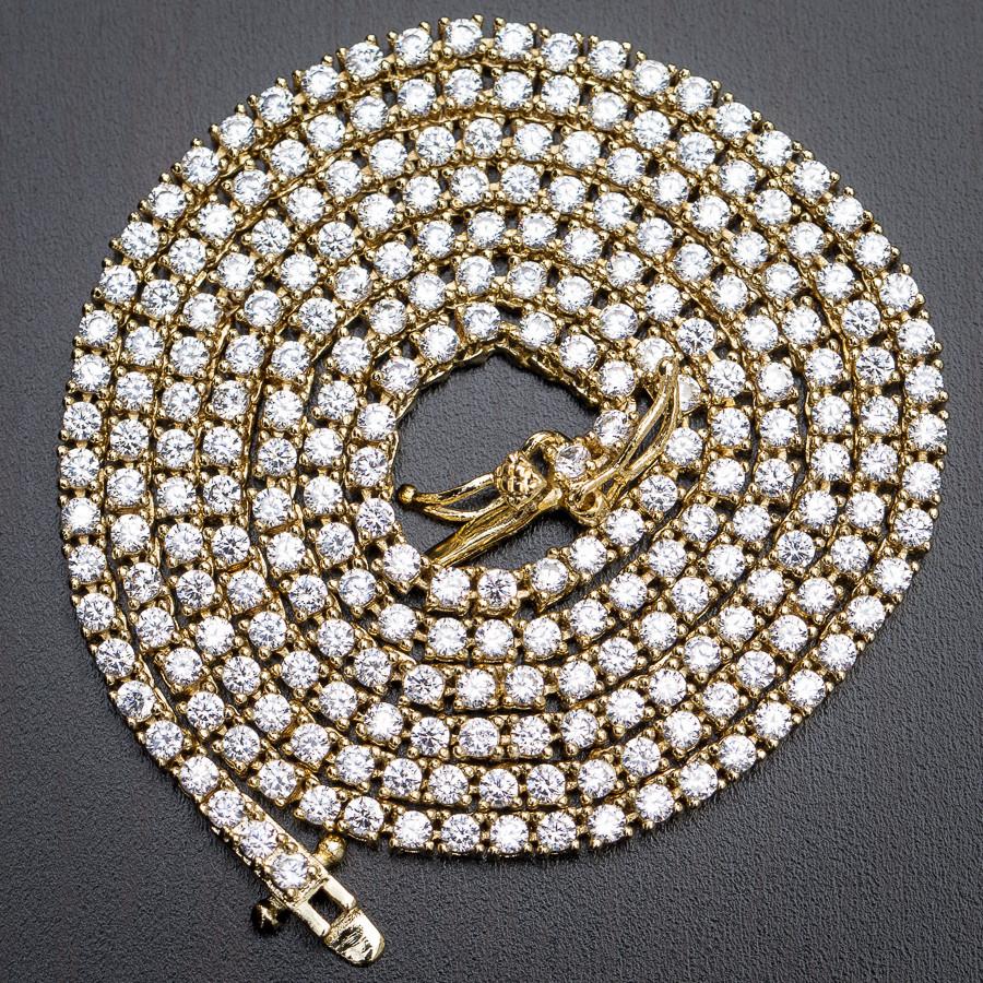 Mini Micro 14k Gold Sterling Silver Tennis Chain