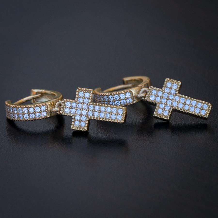 Men's 14K Gold Cross Drop Huggie Hinged Hoop Earrings