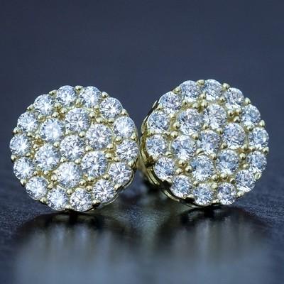 14K Gold Diamond Cluster Stud Earrings