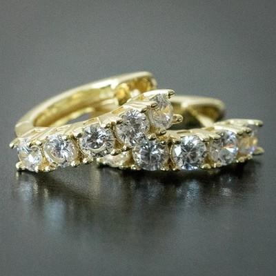 Men's 14k Yellow Gold Diamond Hoop Earrings