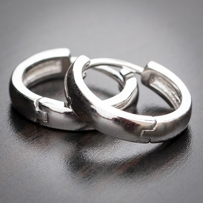 Men's Solid 14k White Gold Hoop Earrings