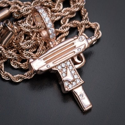 Mini Rose Gold Uzi Pendant Necklace