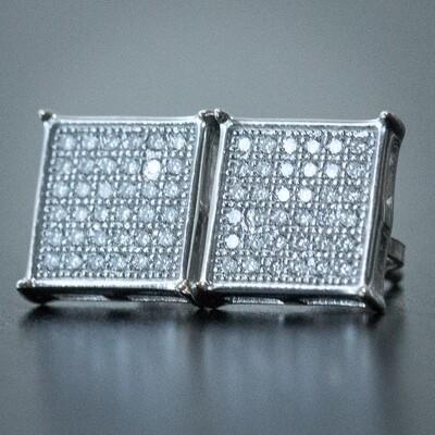 Men's Hip Hop White Gold Square Diamond Earrings