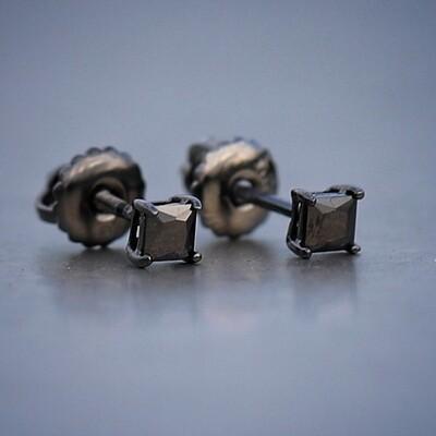 Men's Hip Hop Black Princess Cut Stud Earrings