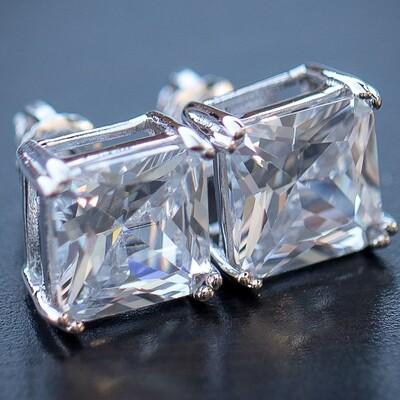 Large Silver Princess Cut Stud Earrings