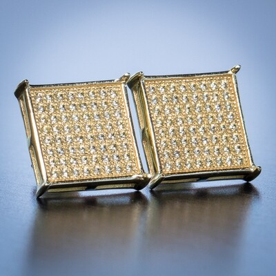 14K Gold Square Lemonade Yellow Canary Earrings