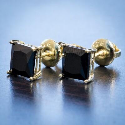 14k Gold Black Onyx Princess Cut Stud Earrings