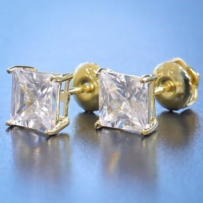 Gold Plated Princess Cut Diamond Stud Earrings