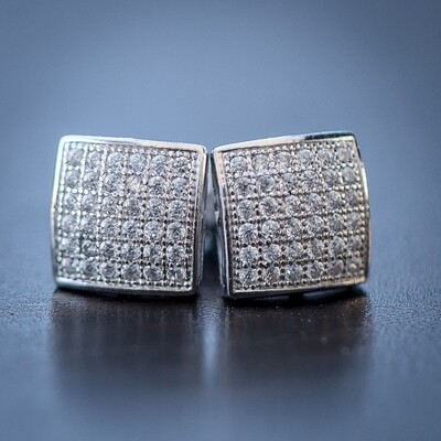Mens Hip Hop Small Square Iced Earrings