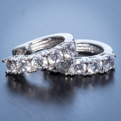 Small White Gold Diamond Hoop Earrings