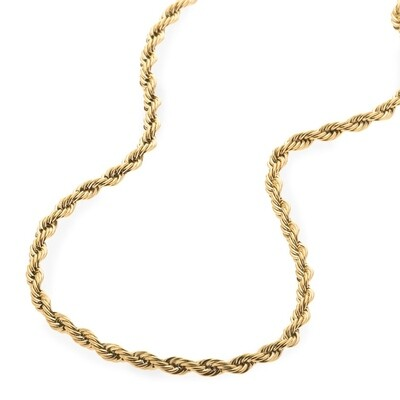 4mm 22inch 14k Gold Plated Stainless Steel Rope Chain