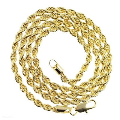 4mm 24 inch 14k Gold Plated Stainless Steel Rope Chain