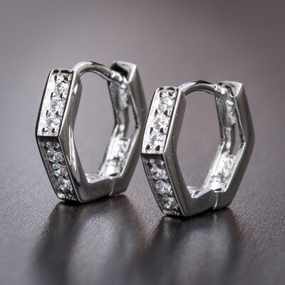 Mens Small Silver Iced Octagon Hoop Earrings