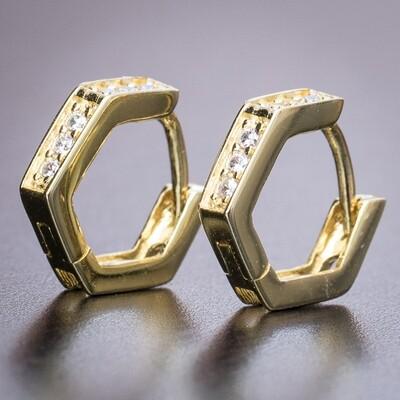Mens Small 14K Gold Iced Octagon Hoop Earrings