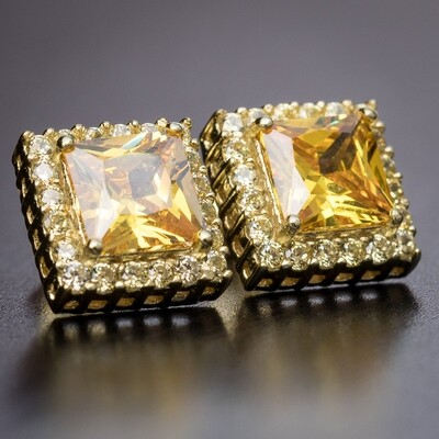 14K Gold Plated Canary Yellow Cz Square Earrings