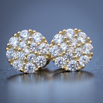 Men's Round Shape Yellow Gold Cluster Screw Back Earrings