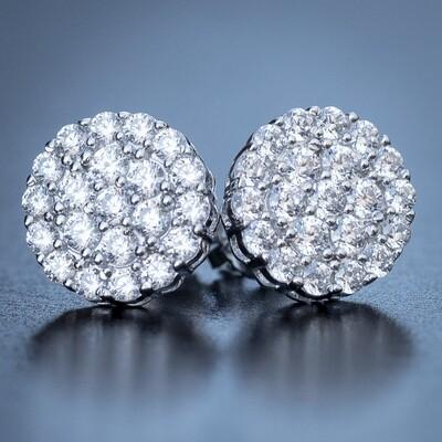 Mens Round Silver Diamond Cluster Earrings