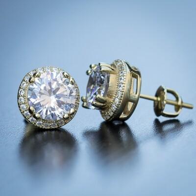 Men's Round Gold Diamond Stud Earrings