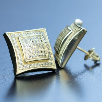 Men's Large 14K Gold  Canary Yellow Square Earrings
