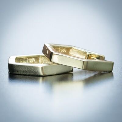 Mens 14K Gold Plated Solid Octagon Hoop Earrings