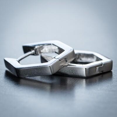 Men Solid Silver Octagon Huggie Hoop Earrings