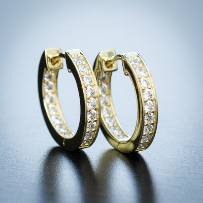 Mens 14K Yellow Gold Iced Cz Hoop Earrings