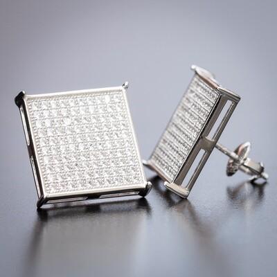 Men's Large Square White Gold CZ Hip hop Earrings