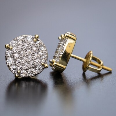 Men's Round Micro Pave 14k Gold Stud Earrings