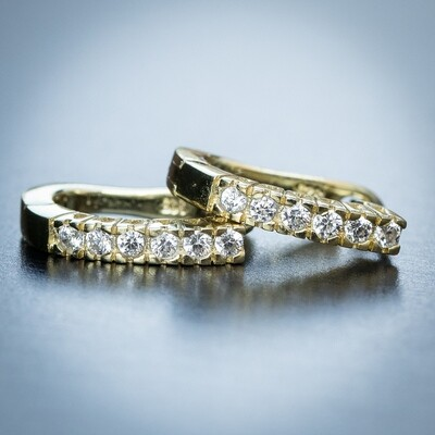Mens Iced Ellipse 14K Gold Plated Hoop Earrings