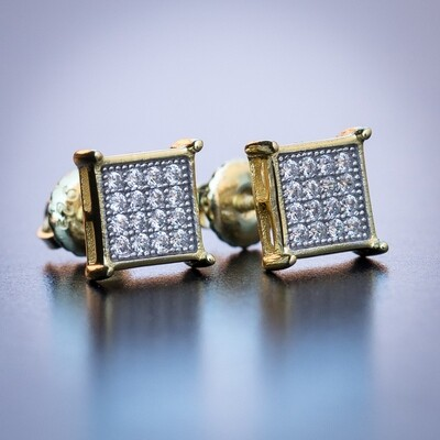 Mens Small Gold Square Screw Back Stud Earrings