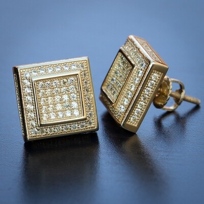 Mens 3D Square Shape Canary Yellow 14K Gold Earrings