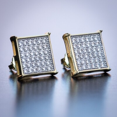 Mens 10mm Gold Square CZ Iced Hip Hop Earrings