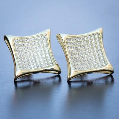 Men's Gold Large Iced Kite Square Stud Earrings