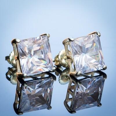 Large Yellow Gold Princess Cut Diamond Stud Earrings