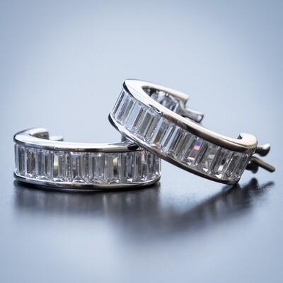 Mens 925 Sterling Silver Baguette Huggie Hoop Earrings