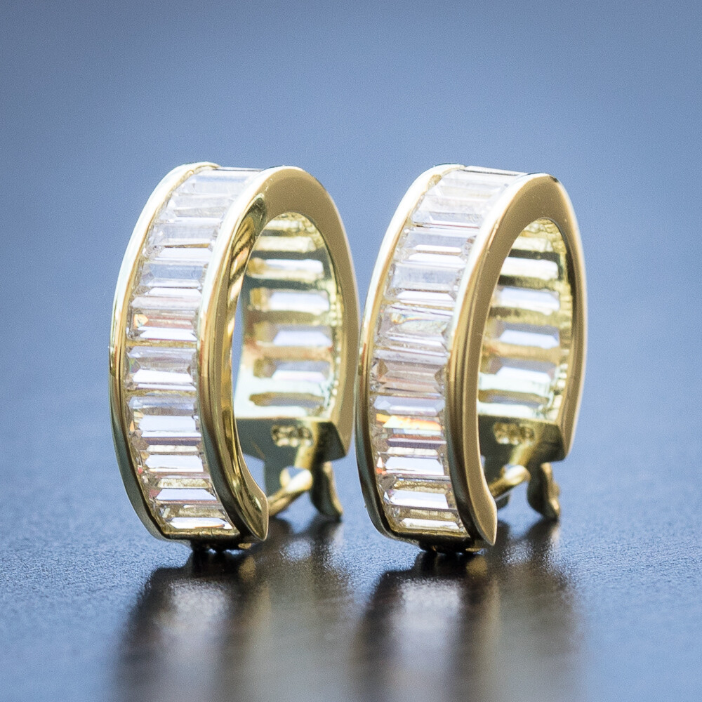 14K Gold Plated 925 Sterling Silver Baguette Mens Hoops