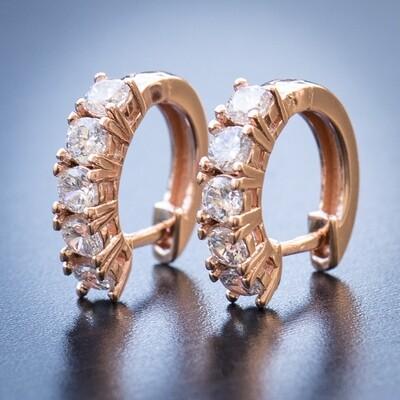 Mens Rose Gold Iced Large CZ Stone Hoop Earrings