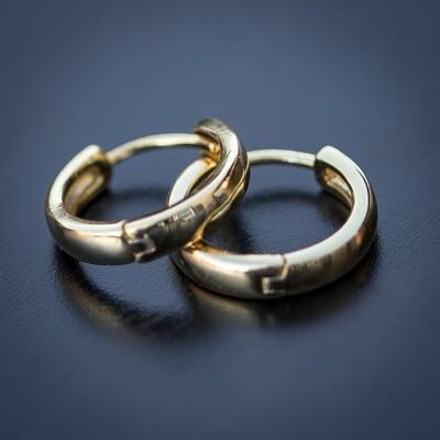 925 Sterling Silver Men's Gold Hoop Earrings