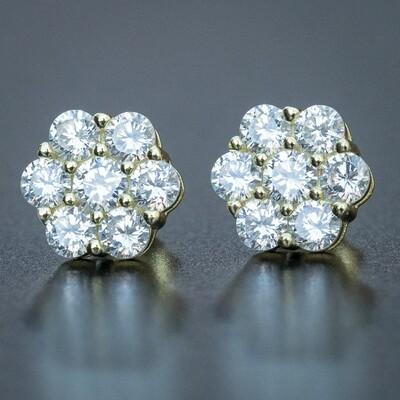 Iced Flower Cluster 14K Gold Mens Stud Earrings