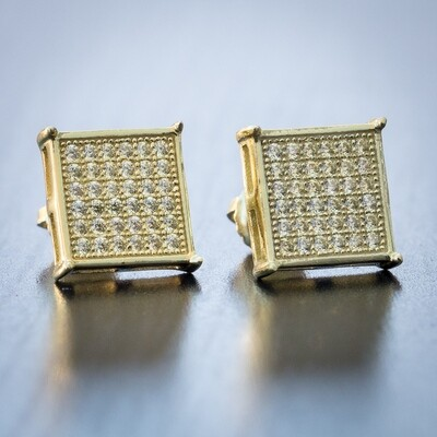 Mens Gold Canary Yellow Sterling Silver Square Earrings