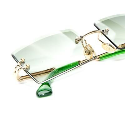 Mens Gold Rectangular Green Tint Sunglasses