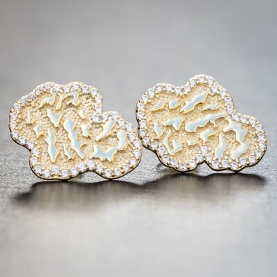 14K Gold Iced Nugget Hip Hop Stud Earrings For Men
