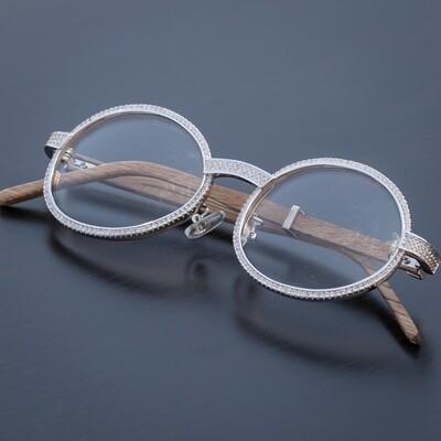 Mens Retro Vintage Silver Clear Lens Wood Diamond Glasses