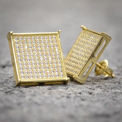 Mens 14K Gold Large Square Flat Screen Earrings